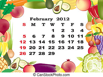 February - monthly calendar 2012 in colorful frame