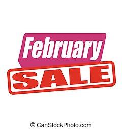 February sale grunge rubber stamp on white, vector illustration