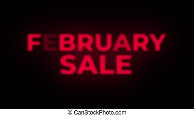 February Sale Text Blinking Flickering Neon Red Sign Loop Background. Sale, Discounts, Deals, Special Offers. Green Screen and Alpha Matte