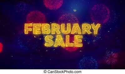 February Sale Text on Colorful Firework Explosion Particles. Sale, Discount Price, Off Deals, Offer promotion offer percent discount ads 4K Loop Animation.