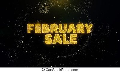 February Sale Text on Gold Particles Fireworks Display. - ...