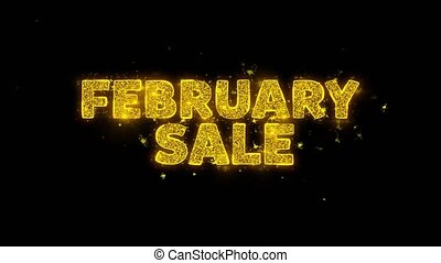 February Sale Text Sparks Glitter Particles on Black Background. Sale, Discount Price, Off Deals, Offer promotion offer percent discount ads 4K Loop Animation.
