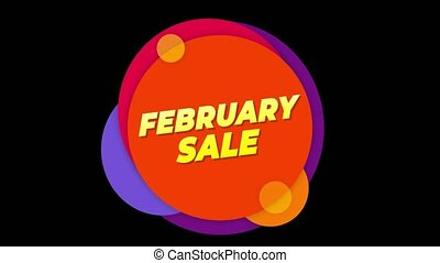 February Sale Text Sticker Colorful Sale Popup Animation. -...