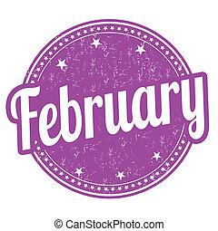 February grunge rubber stamp on white background, vector illustration