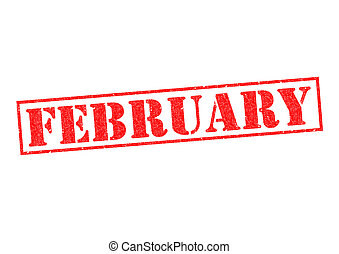 FEBRUARY Rubber Stamp over a white background.