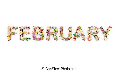 "february."", texte, animation, mois, calendrier, ""floral"