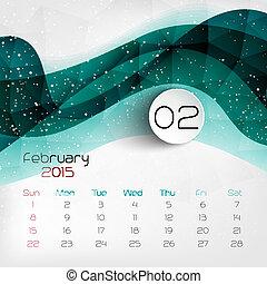 february., vector, calendar., 2015, illustratie