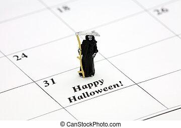 fecha, calendario, halloween, feliz