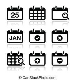 fecha, calendario, vector, conjunto, iconos