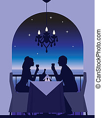fecha, cena, romántico