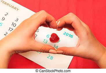 fecha, de, february 14, en, el, calendario