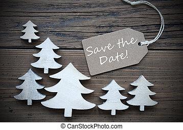 fecha, excepto, árboles de navidad, etiqueta