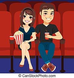 fecha, pareja, cine
