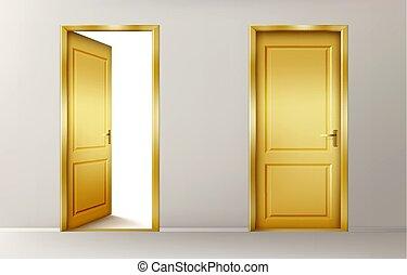 fechado, dourado, portas, abertos