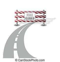 fechado, estrada, ilustração, desenho