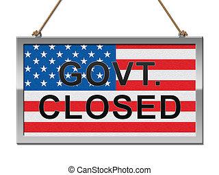 fechado, governo, senado, meios, sinal, shutdown, presidente, américa, ou