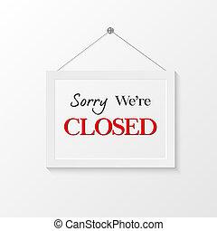 fechado, ilustração, sinal
