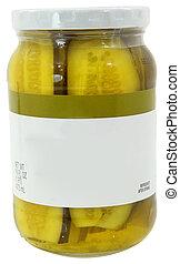 fechado, jarro pepino conserva, cortando, etiqueta, vidro, em branco, novo, caminho, lanças, 16oz