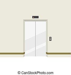 fechado, portas, elevator.