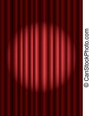 fechado, vermelho, teatro, cortina, com, holofote, em, a, centro, eps10