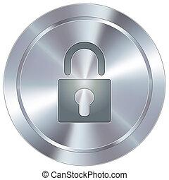 fechadura, ícone, ligado, industrial, botão