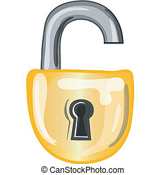 fechadura, abertos, ícone