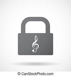 fechadura, almofada, clef, isolado, g