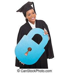 fechadura, americano, papel, afro, graduado