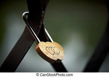 fechadura, de, love.