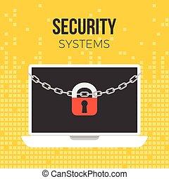 fechadura, e, corrente, ligado, laptop, segurança, conceito, ligado, experiência digital, tema