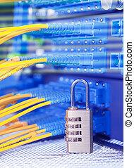 fechadura, e, fibra, óptico, rede, cabo