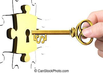 fechadura, quebra-cabeça, chave sinal dólar, mão, pedaço, abertos
