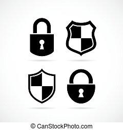 fechadura, segurança, vetorial, ícone