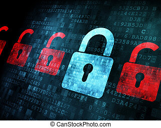 fechadura, tela, segurança, concept:, digital