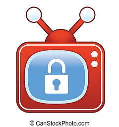 fechadura, televisão, retro, ícone