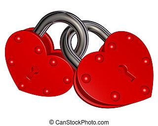 fechaduras, de, amor