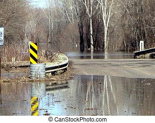 fechamento, inundação, devido, estrada