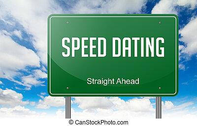 fechando, velocidad, signpost., carretera