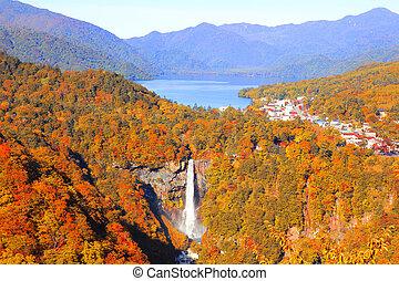 fedélzet, kegon, nikko, megfigyelés, akechidaira, évad, tó, vízesés, ősz, chuzenji, japan.