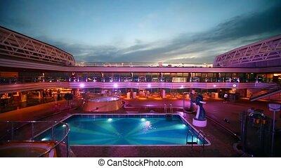 fedélzet, tető, luxushajó, pocsolya, úszás