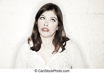 Fed-Up Cross-Eyed Funny Sneer - Portrait of a beautiful...