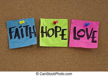 fede, speranza, e, amore