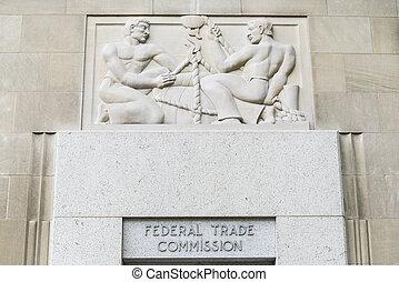 federální, obchod, komise, budova