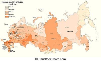federaal, kaart, onderwerpen, rusland, bevolking