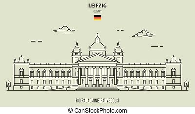 Federal Administrative Court in Leipzig, Germany. Landmark icon in linear style