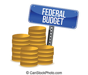 Federal budget coins illustration design over a white...