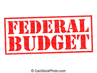 FEDERAL BUDGET red Rubber Stamp over a white background.
