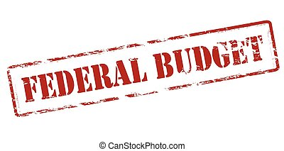 Federal budget - Rubber stamp with text federal budget...