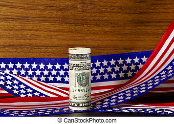 Federal Funding - American currency placed in front of stars...