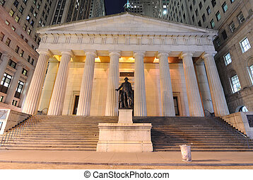 Federal Hall at night, the first capitol of the United...